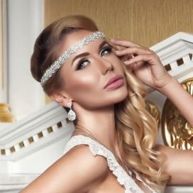 Glamour ručne vyšívaná krištáľová čelenka TIFFANY