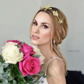Zlatá čelenka s kvetmi ROSSET