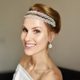 Glamour ručne vyšívaná krištáľová čelenka ORNELLA