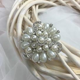 Svadobný perličkový hrebienok do vlasov H58