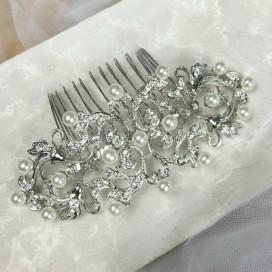 Svadobný perličkový hrebienok do vlasov H102