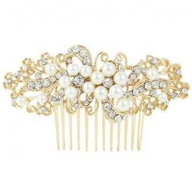 Svadobný perličkový hrebienok do vlasov DOROTHY GOLD