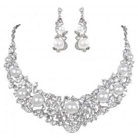 Svadobný/spoločenský náhrdelník + náušnice NN0442