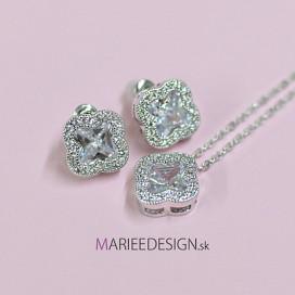 Svadobný/spoločenský náhrdelník + náušnice NN013