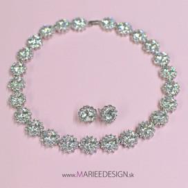 Luxusný zirkónový náhrdelník + náušnice NH12