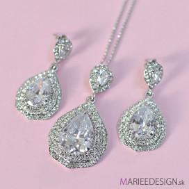 Svadobný/spoločenský náhrdelník + náušnice NN31