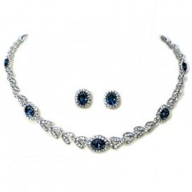 Set náušníc a náhrdelníka so zafírovo modrými krištáľmi NNM4