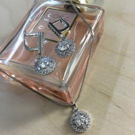 Svadobný/spoločenský náhrdelník + náušnice NN0149