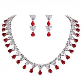 Set šperkov s červenými zirkónmi CHARLENE