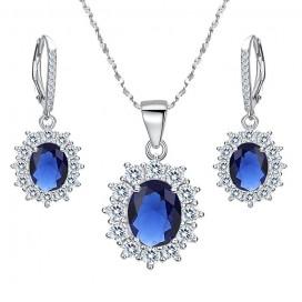 Luxusný set strieborných šperkov náhrdelník + náušnice KATE