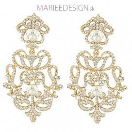Svadobné/spoločenské chandelier krištáľové náušnice HARPER GOLD