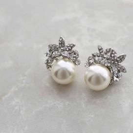 Svadobné/spoločenské perličkové náušnice AMBER