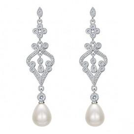 Pravé perlové náušnice LADY FRESHWATER PEARL, 925 striebro