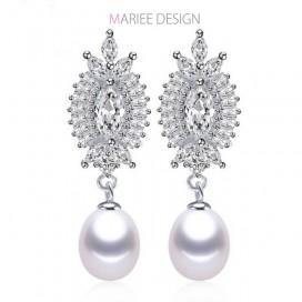 Pravé perlové náušnice LADY LUXURY, 925 striebro