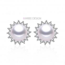 Pravé perlové náušnice STAR, 925 striebro