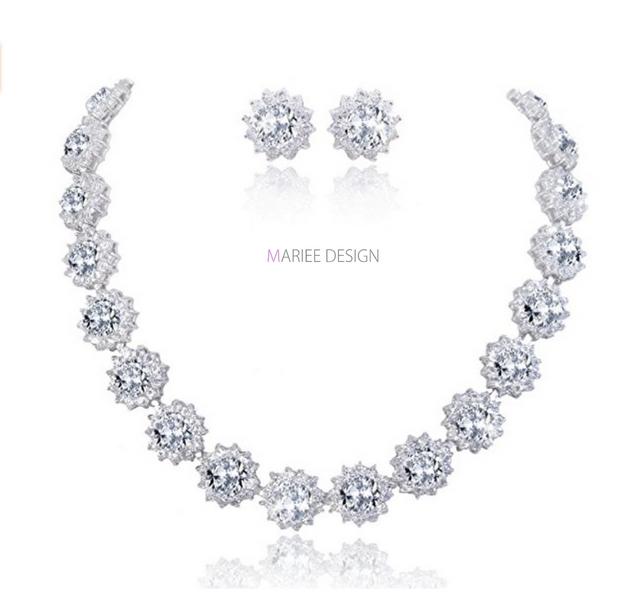 98f0b2173 Luxusný zirkónový náhrdelník + náušnice NH12